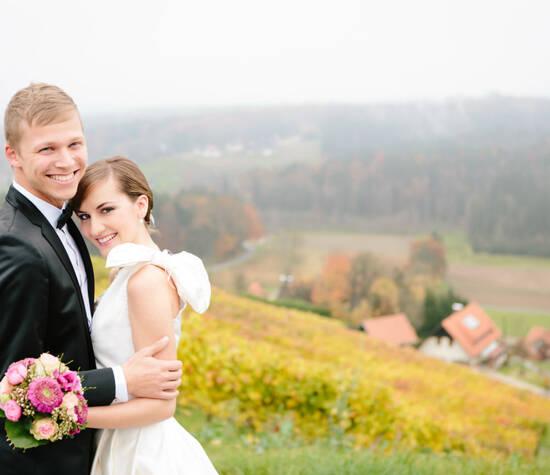 Beispiel: Glückliches Brautpaar,  Foto: wedding AGENCY